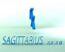 3d rotating sagittarius zodiacal symbol with name and date, loopable Stock Footage