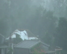 Hurricane Winds Rip Roof Off House Stock Footage