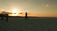 Two People walking alone on a beach Stock Footage
