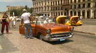 Havana, Cuba. Traffic, old 1957 Chev taxi cab Stock Footage