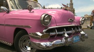 Havana, Cuba. Traffic1950s cars Pink Chevy Stock Footage