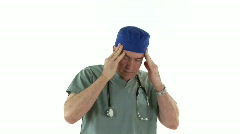 Tired stressed doctor Stock Footage