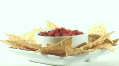 Salsa and chips hand dip - HD  Stock Footage