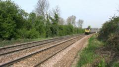 High Speed passenger railway train in Leicestershire England. - stock footage