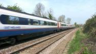 Meridian diesel passenger railway train in Leicestershire England. Stock Footage