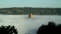 Najac castle in the mist Stock Footage