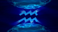 Stock Video Footage of 3d rotating aquarius zodiacal symbol in abstract space, loopable