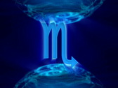 3d rotating scorpio zodiacal symbol in abstract space, loopable Stock Footage