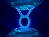 3d rotating taurus zodiacal symbol in abstract space, loopable Stock Footage