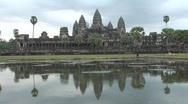 Stock Video Footage of Angkor Wat temple reflection