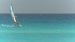 Cuba beach and sailboat, #4 Stock Footage