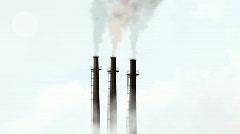 Sky High Smoke Stacks Stock Footage