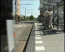 97 tram arriving leaving Stock Footage