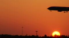 Plane Landing Silhouette Stock Footage