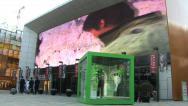 China shopping mall, big screen Stock Footage