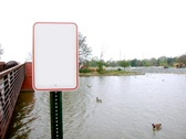Blank Sign by a Lake Stock Footage
