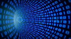 Binary internet tunnel - v1 blue. Seamless loop. HD1080p. Stock Footage