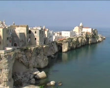 View of the town of Vieste in the Gargano area, a region in southern Italy. Stock Footage
