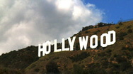 Stock Video Footage of Hollywood Sign Clouds Time-lapse, Close