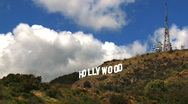 Stock Video Footage of Hollywood Sign Clouds Time-lapse