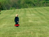 Young Boy Pulling a Wagon Stock Footage