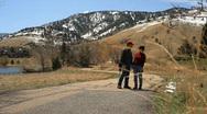 Walking mountain trail Stock Footage