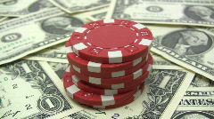 Stack of Red Poker Chips Stock Footage