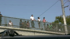 People on top of Overpass Watching Accident Stock Footage