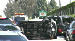 Flipped Car on Highway Stock Footage