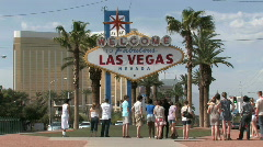 Las Vegas Welcome group M HD Stock Footage