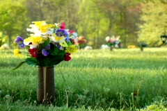 Artifical Flowers in a Cemetary Stock Footage
