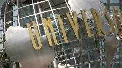 Universal Studios Globe Rotate close up Stock Footage