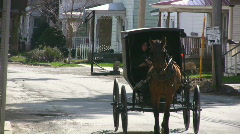 Amish Horse Drawn Black Carriage Upstate New York Stock Footage