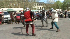 Pikes vs swords, fight re-enactment Stock Footage