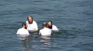 Stock Video Footage of Orthodox Jews practice swimming