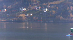 Oil tanker on nordic fjord - stock footage