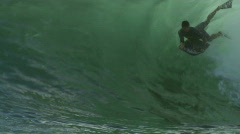 Bodyboard Tube Ride - Surfing Dig Wave Close-up Stock Footage