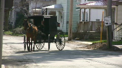 Amish Horse Drawn Carriage Stock Footage