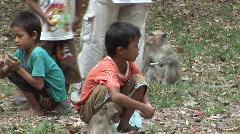 Cambodian children feeding monkeys Stock Footage