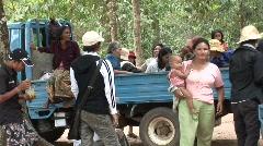 Cambodians around truck Stock Footage