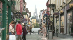 Shoppers on Cook Street, Cork City Stock Footage
