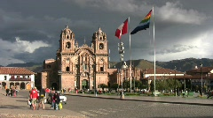 Cuzco, Peru Church and Plaza - stock footage