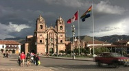 Stock Video Footage of Cuzco, Peru Church and Plaza