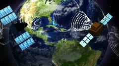Satellites Around a Spinning Earth LOOP Stock Footage