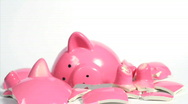 Breaking up and rebuilding a piggy bank. Stop motion animation. Stock Footage