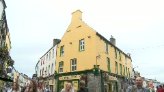 Galway City Shoppers Stock Footage