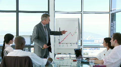 Stock Video Footage of CEO in a businessmeeting explaning with a Whiteboard