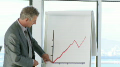 Sucessfull CEO in a businessmeeting explaning with a blackboard Stock Footage