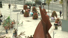 Galway Hooker Sculpture, Eyre Square, Galway from above Stock Footage