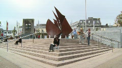 Galway Hooker Sculpture, Eyre Square, Galway Stock Footage